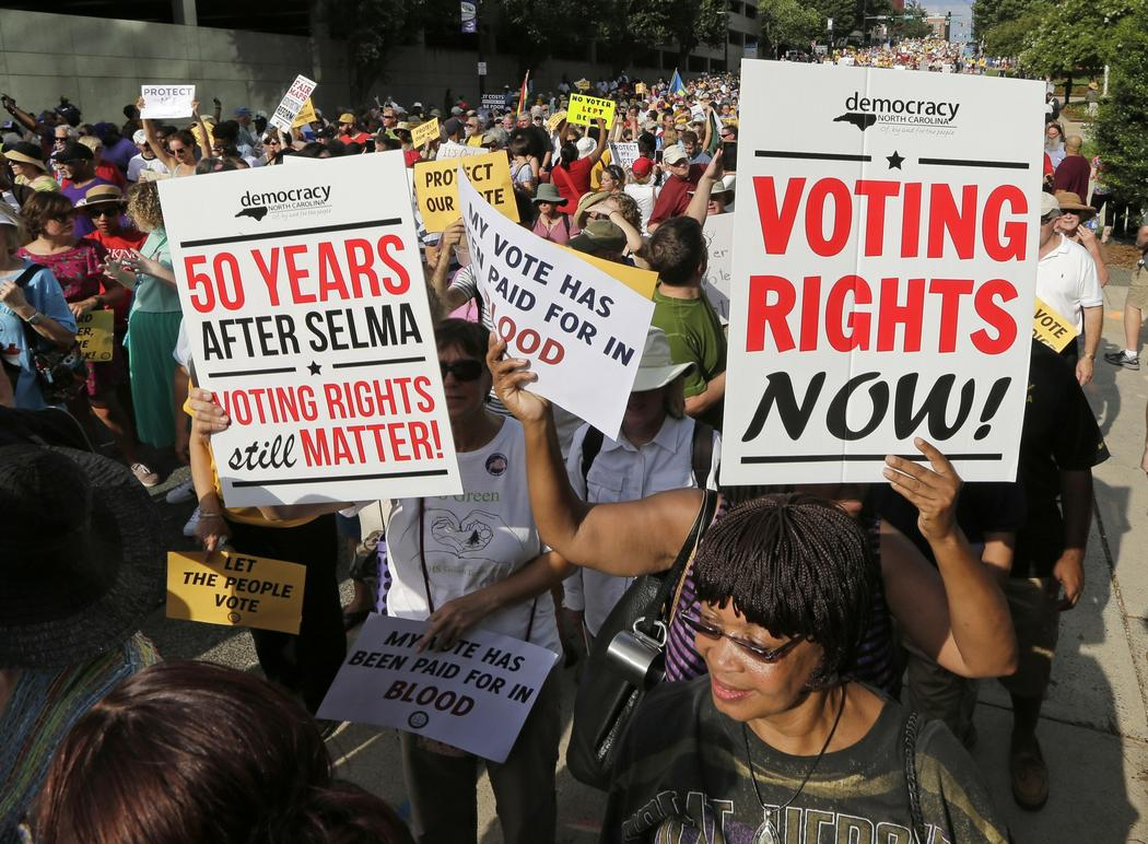 People at voting rights rally